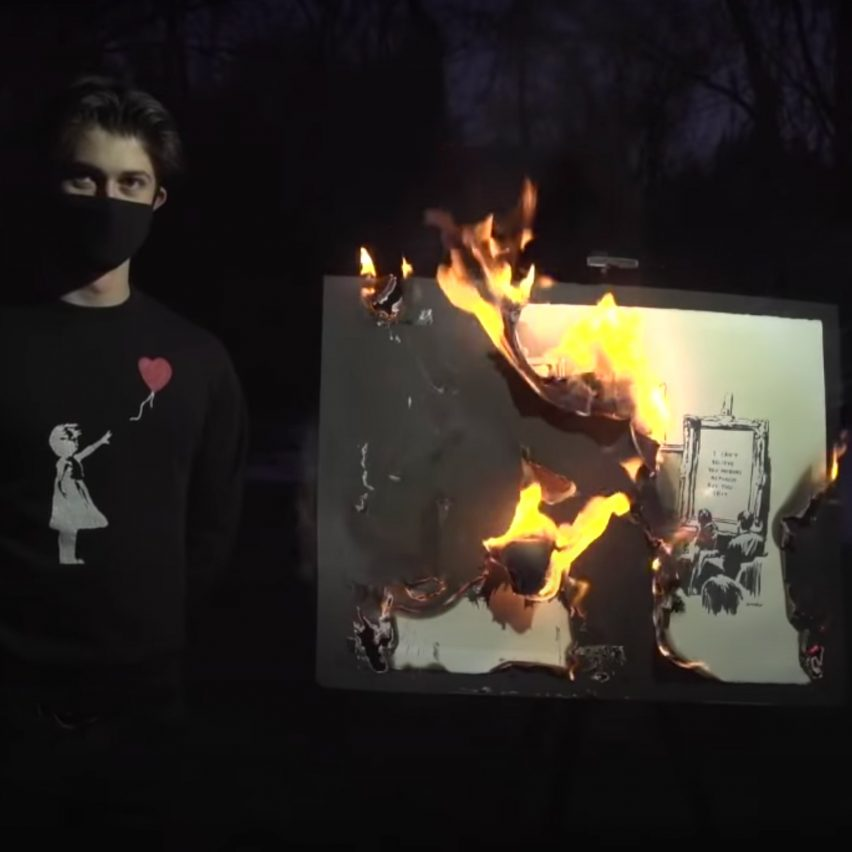 Screenshot of Burnt Banksy video by Injective Protocol