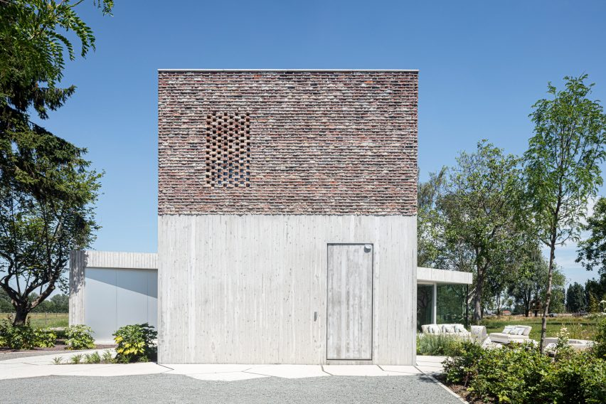 Brick and concrete was used across the exterior of House Dede to create texture