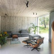 The interior has an open plan design