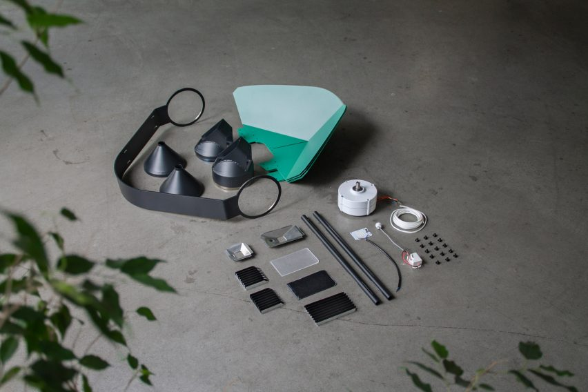 Assembly kit for wind-powered street light by Tobias Trübenabacher