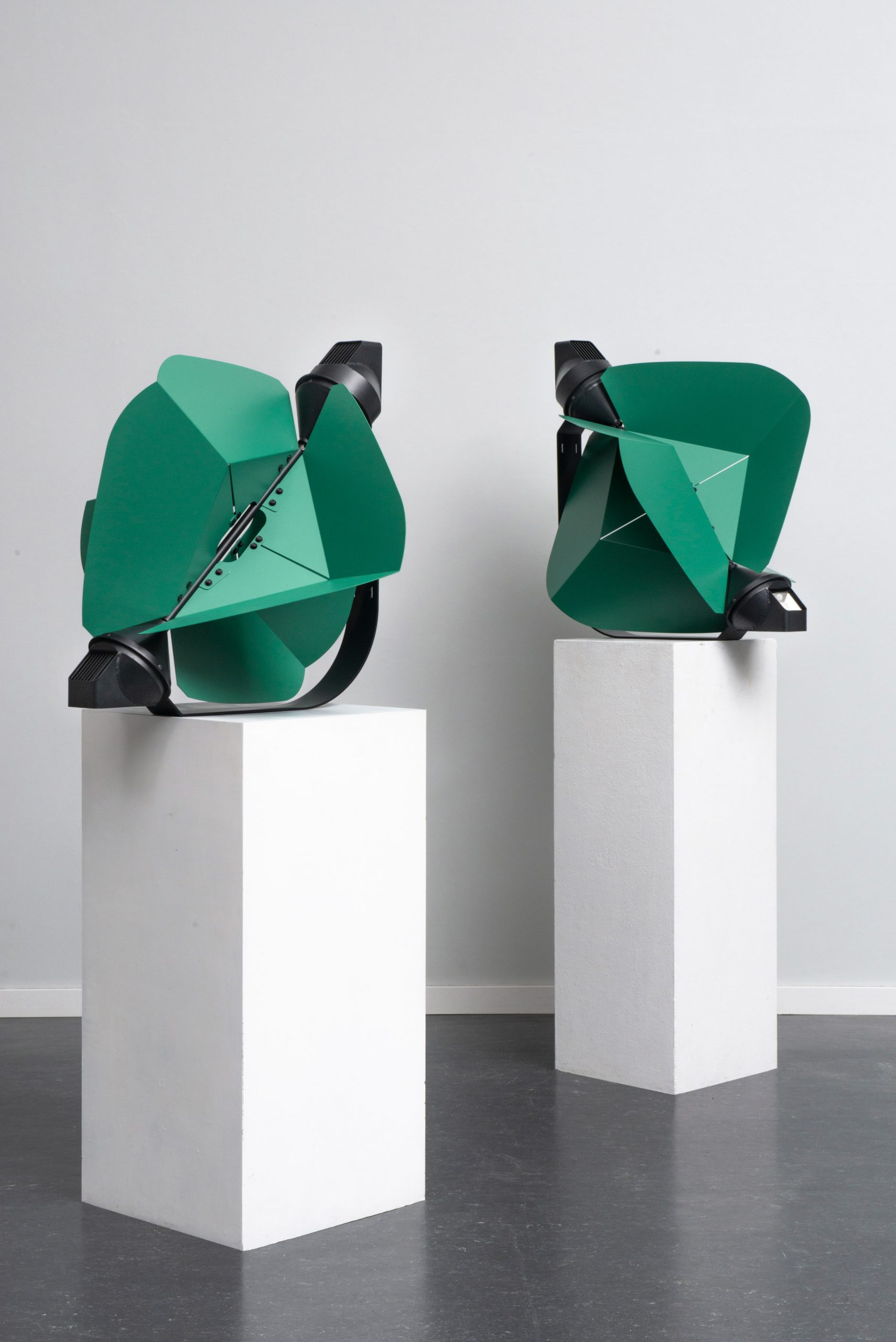 Two Papilio lights on plinths