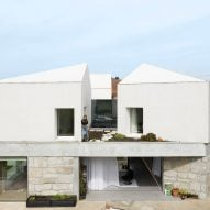 The home has multiple gabled forms
