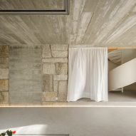 Concrete covers the ceiling