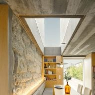 A skylight located above a breakfast nook