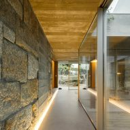 Stone lines the walls of the home