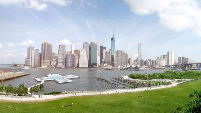 View of the plus-shaped pool in the East River