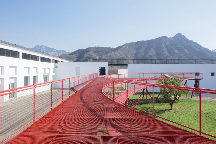 An elevated walkway at a youth centre in China