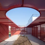 A garden enclosed within a steel mesh structure