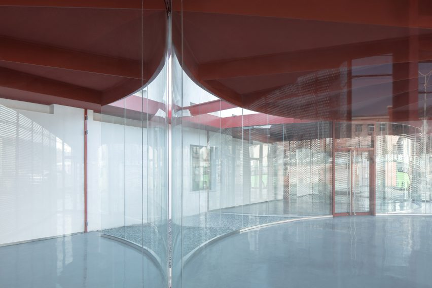 The glass entrance to The Youth Activity Center