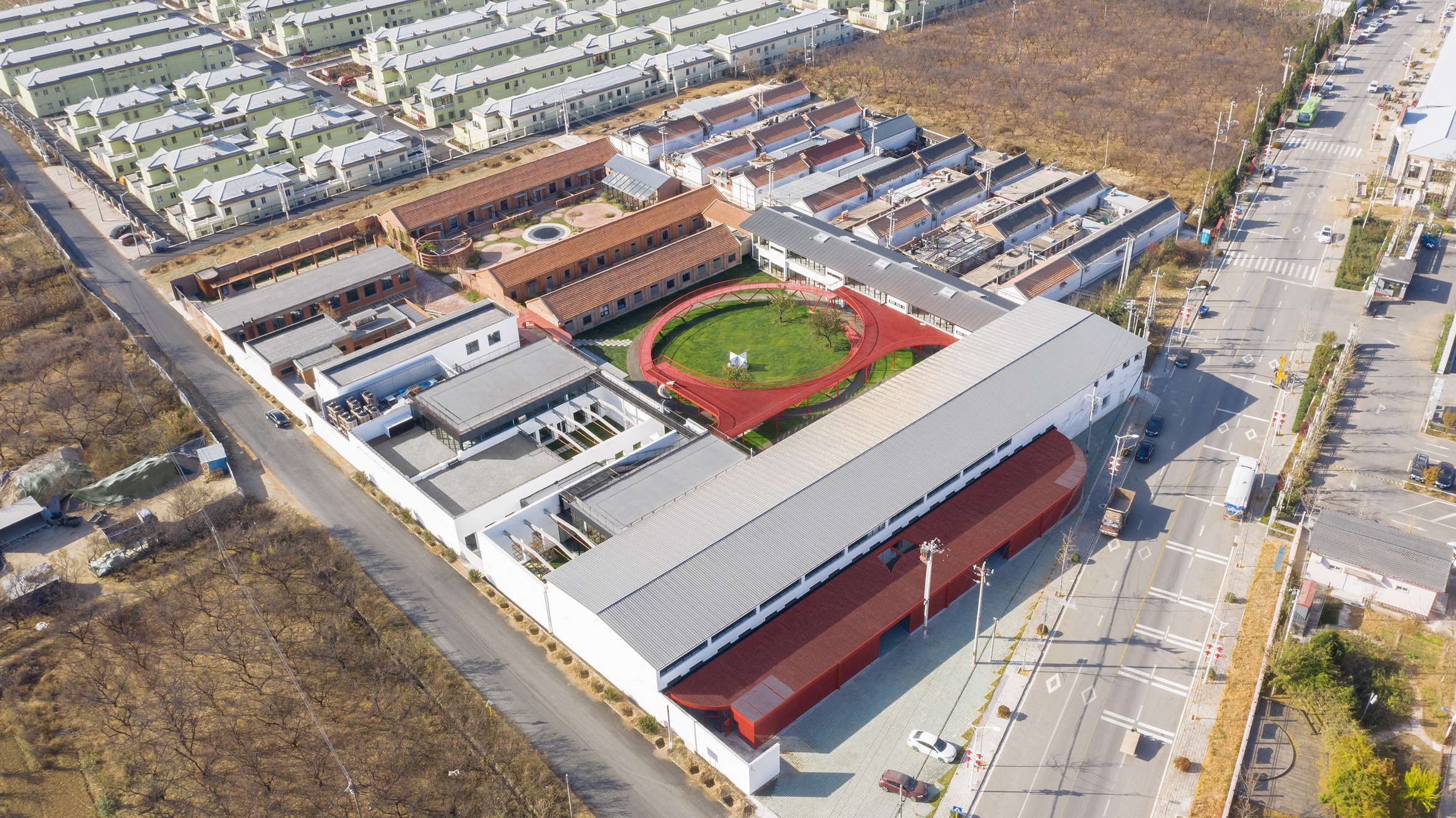 An aerial view of a Chinese youth centre