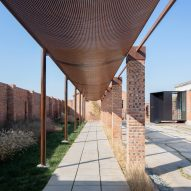 Walkways covered with mesh panels