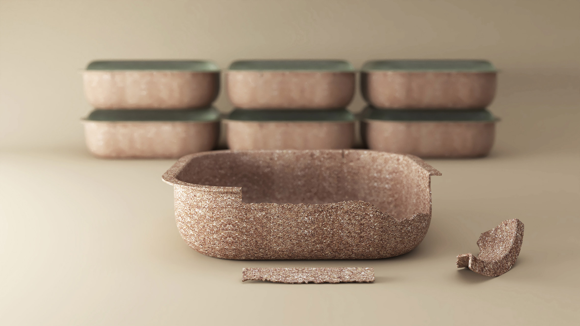 Multiple salad containers made from wheat husks