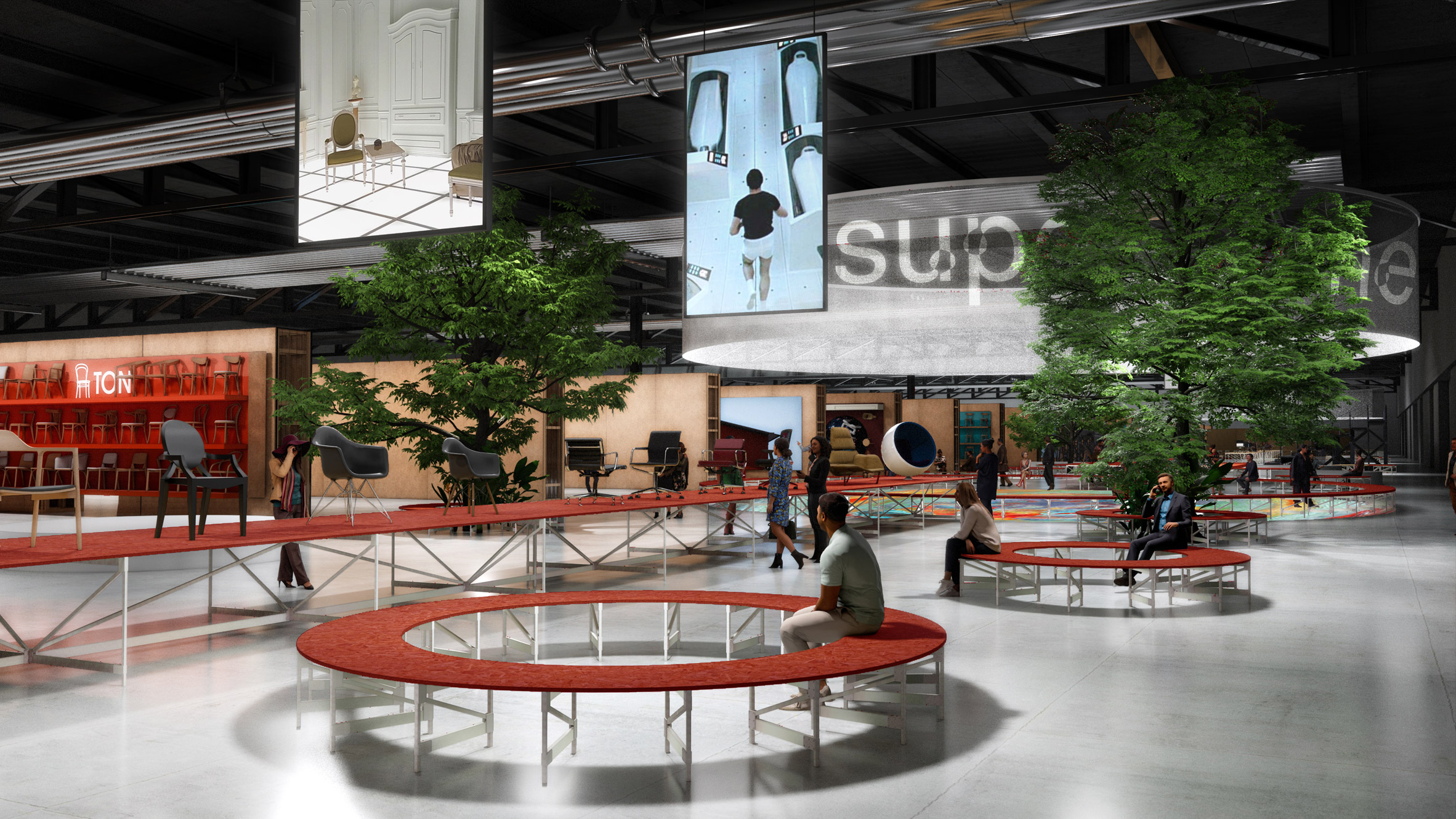 Visuals of Supersalone plans by Stefano Boeri for Salone del Mobile