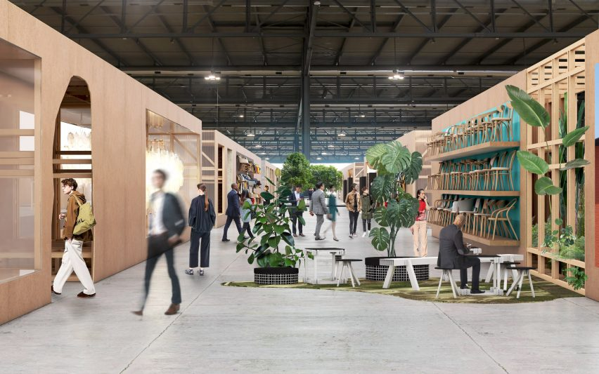 Renders of products displayed on walls at Salone del Mobile 2021