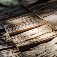 Rough chestnut wood laid on a roof