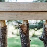 Close-up of balustrade made of chestnut branches