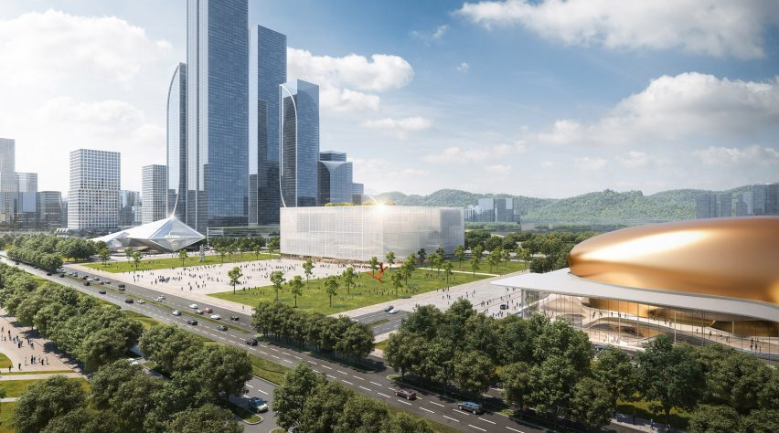 A visual of an exhibition complex in Shenzhen
