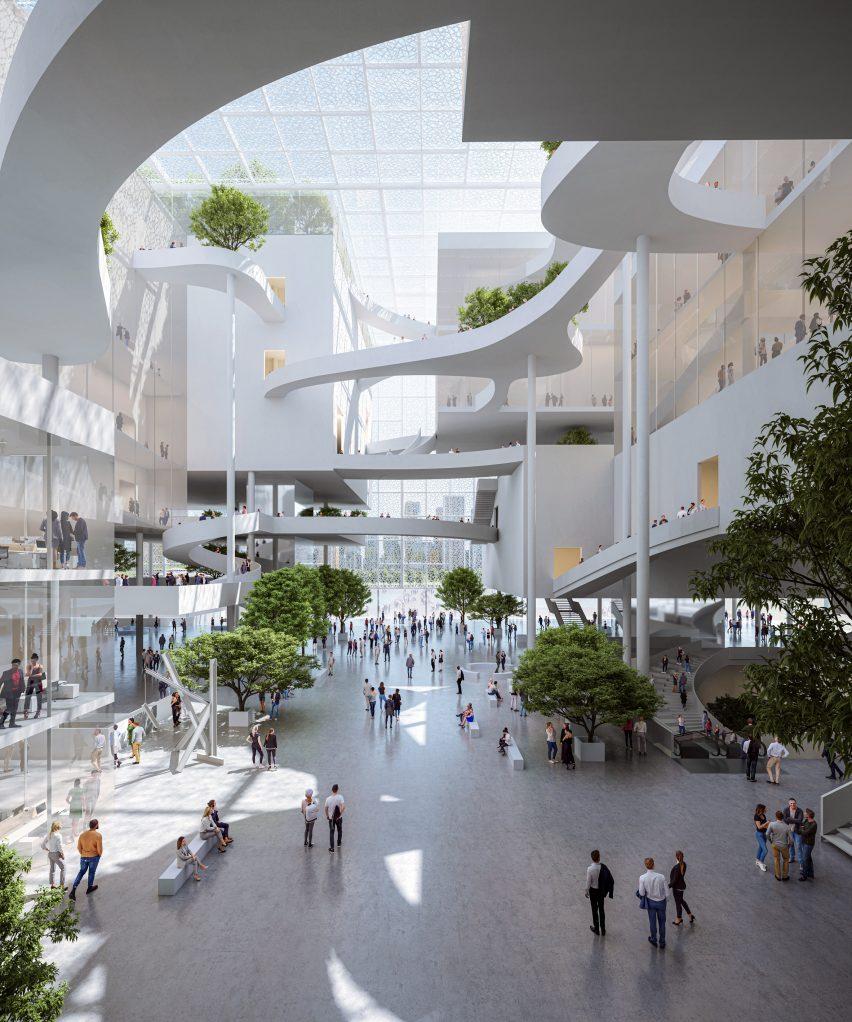 A tree-lined lobby