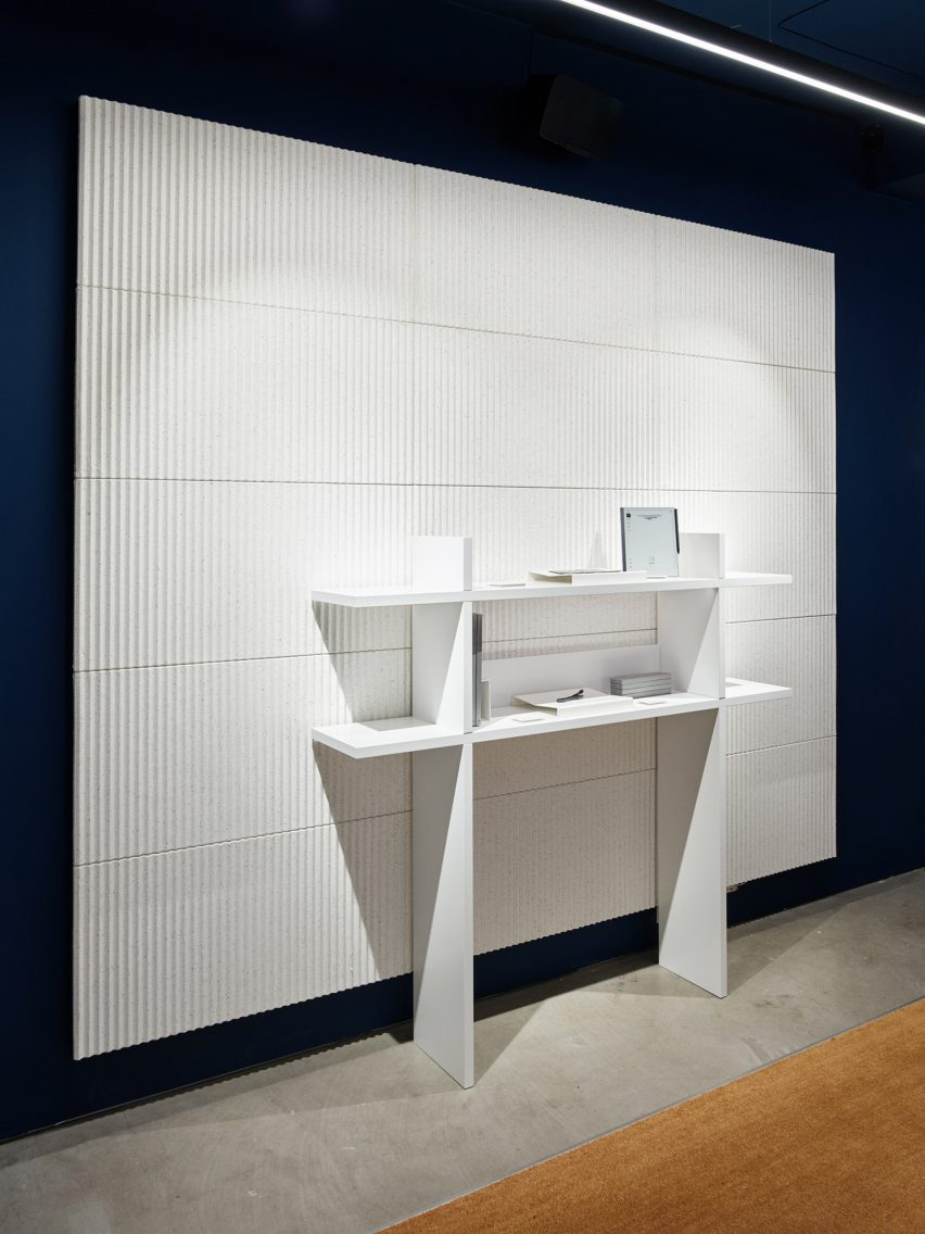 White acoustic panel with shelving