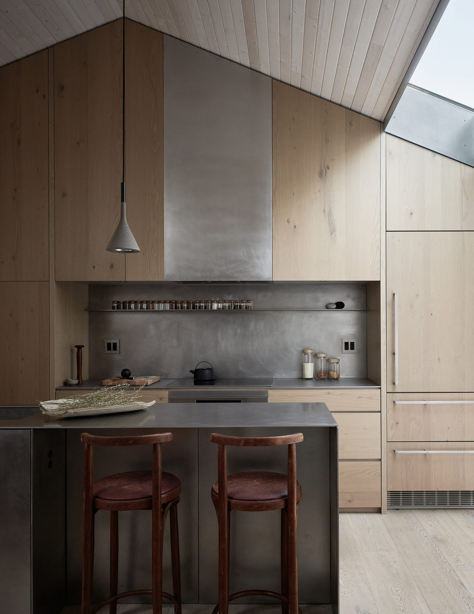 Skylights and wood panelling feature in the kitchen