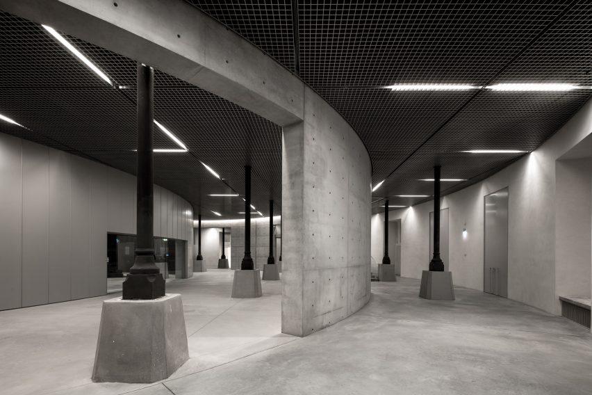 The basement of the Bourse de Commerce houses an auditorium