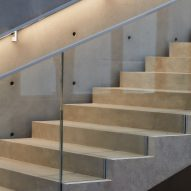 The stairs have a concrete finish