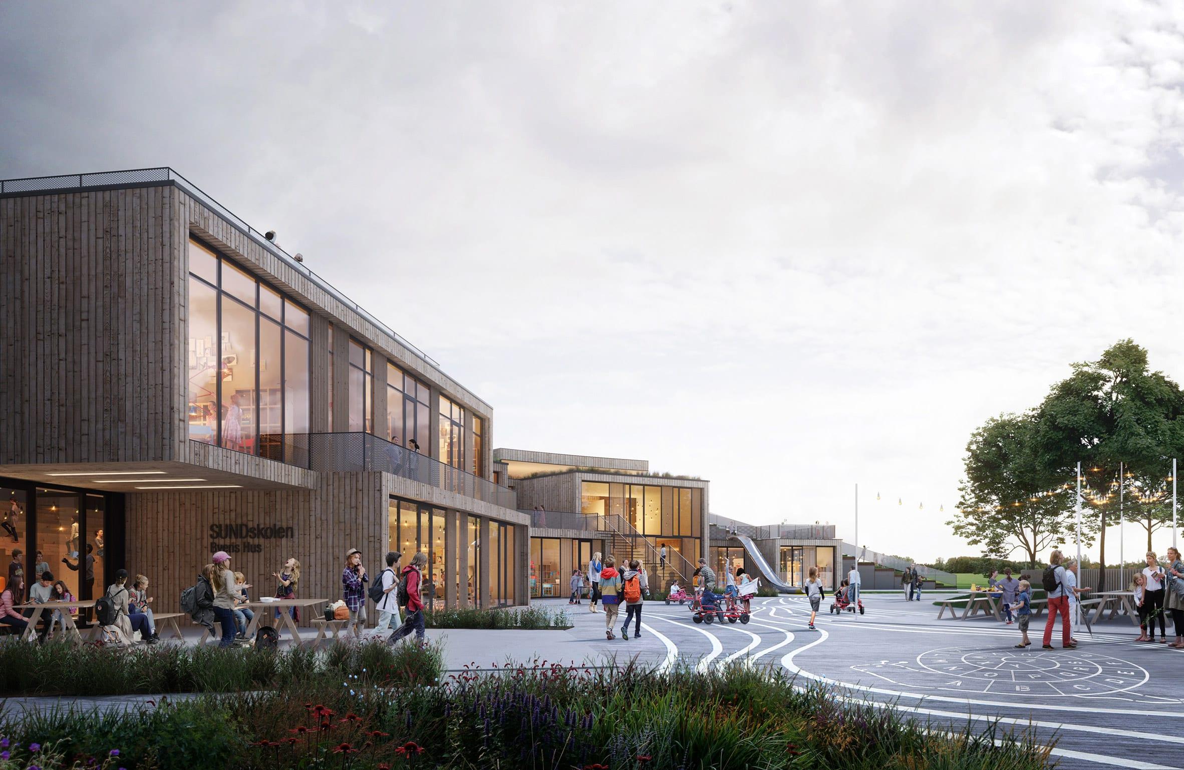 Render of The New School by Henning Larsen