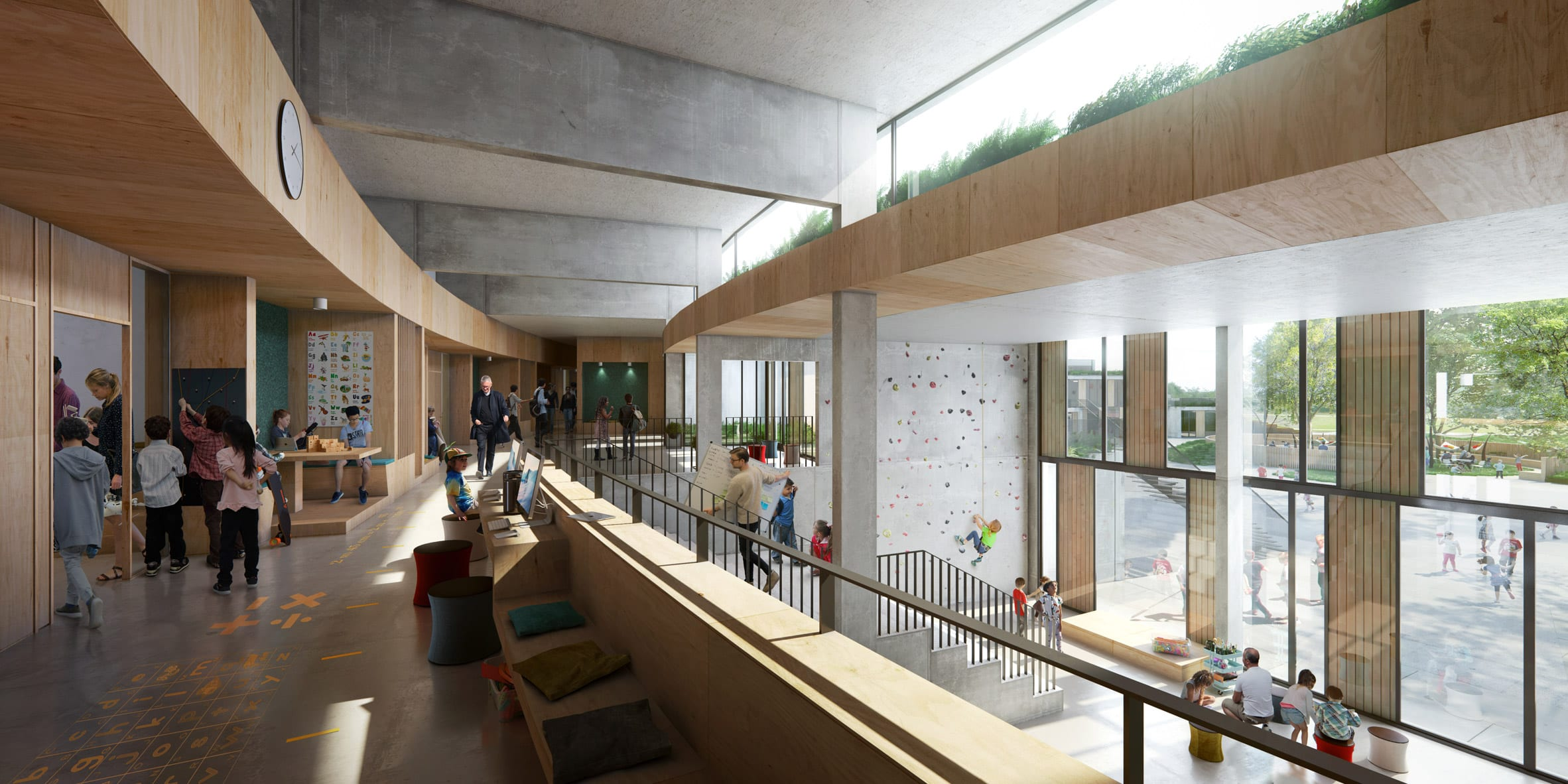 Interiors of The New School will look out to the landscape
