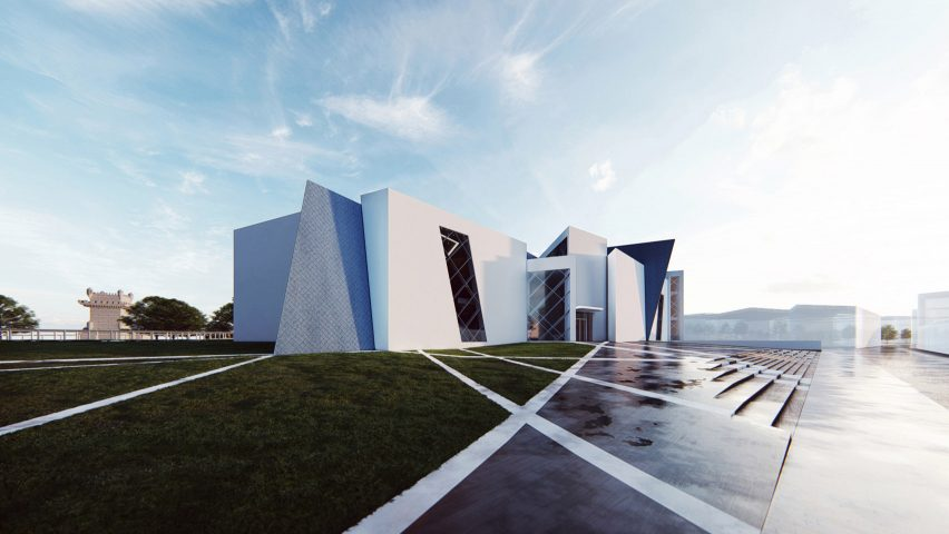 A visual of a museum with a white geometric exterior