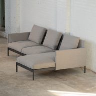 A corner sofa with light grey upholstery