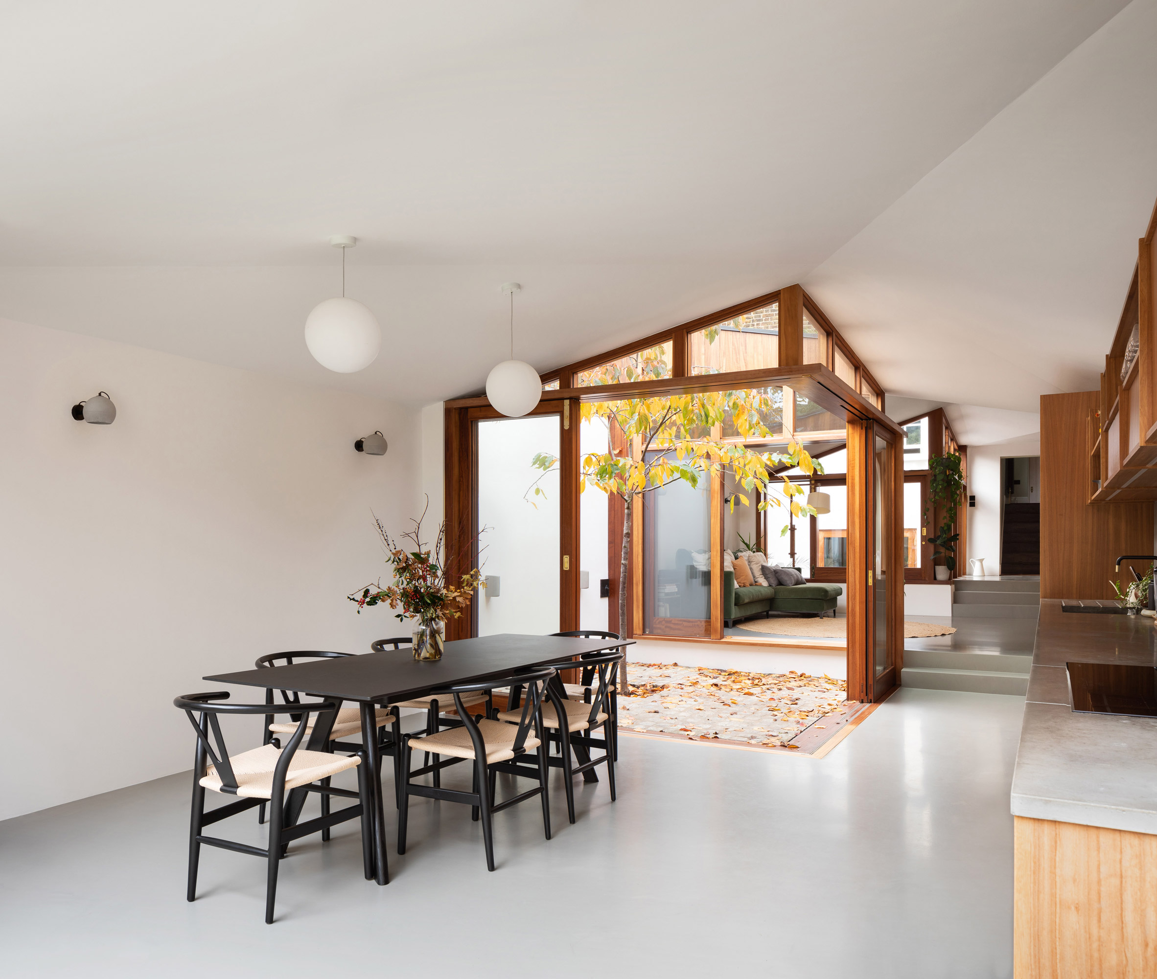 The kitchen and dining room of A Cloistered House