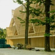 Wooden frame built in front of US pavilion at Venice Architecture Biennale
