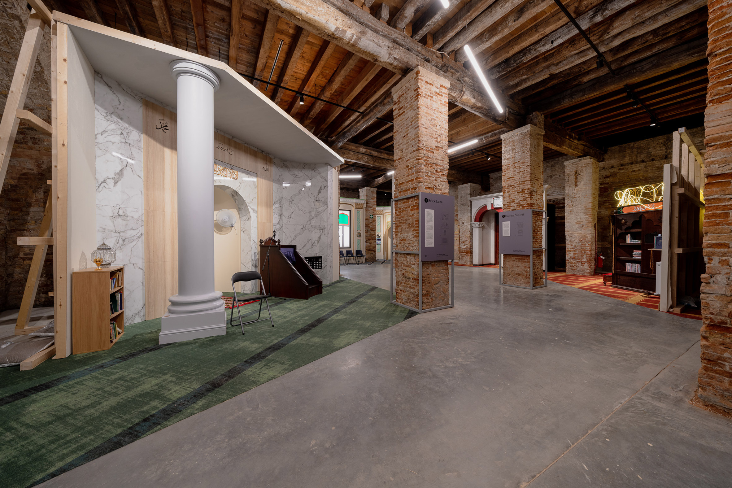 The installations sit atop carpeted zones