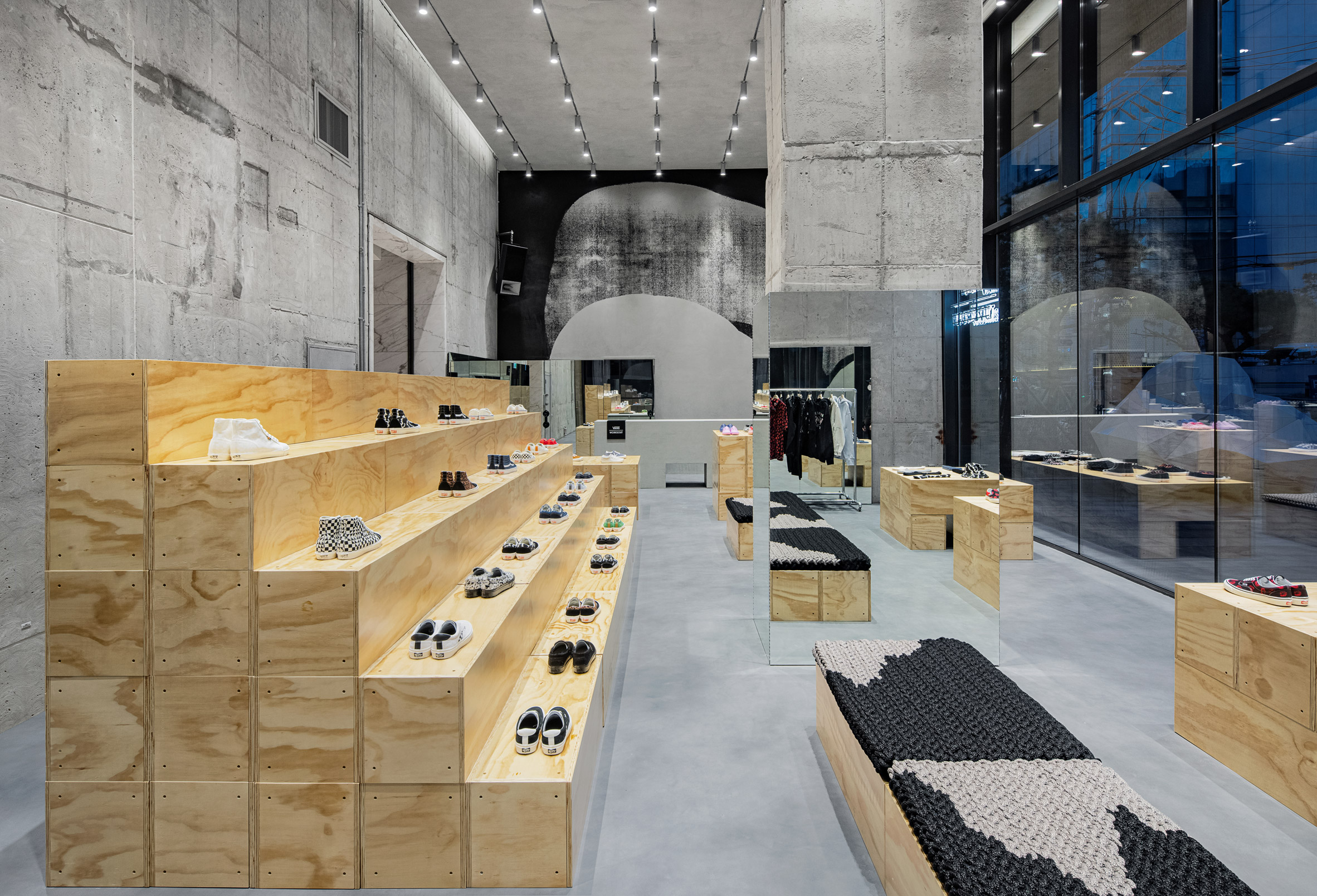 Concrete walls and ceiling in clothing store