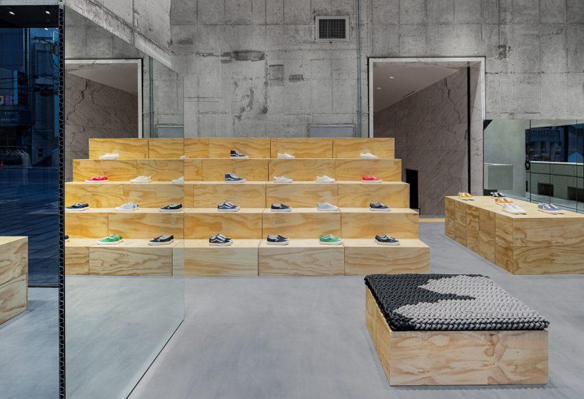 Plywood modules inside Vans store