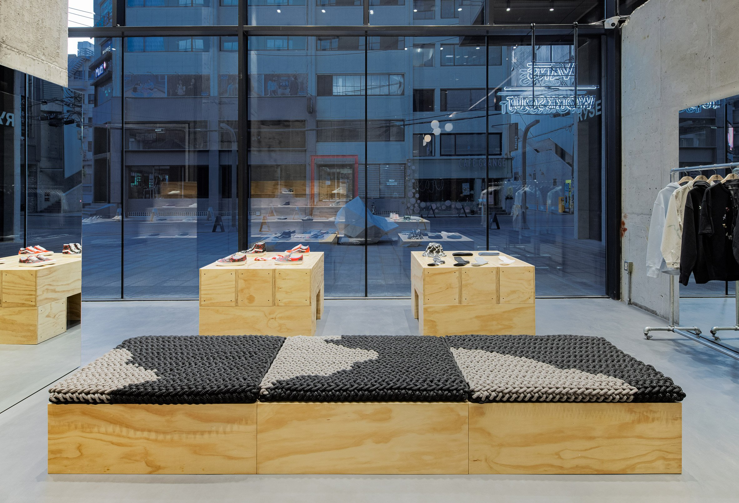 Textile-covered plywood bench in
