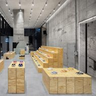 Plywood modules informed by modern art decorate Vans store in Seoul