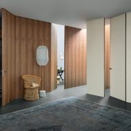 Wall & Door system by Lualdi with wooden panels