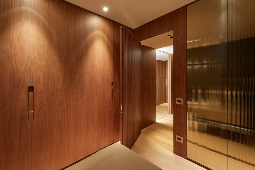 Interior of a Milan apartment with wooden paneling