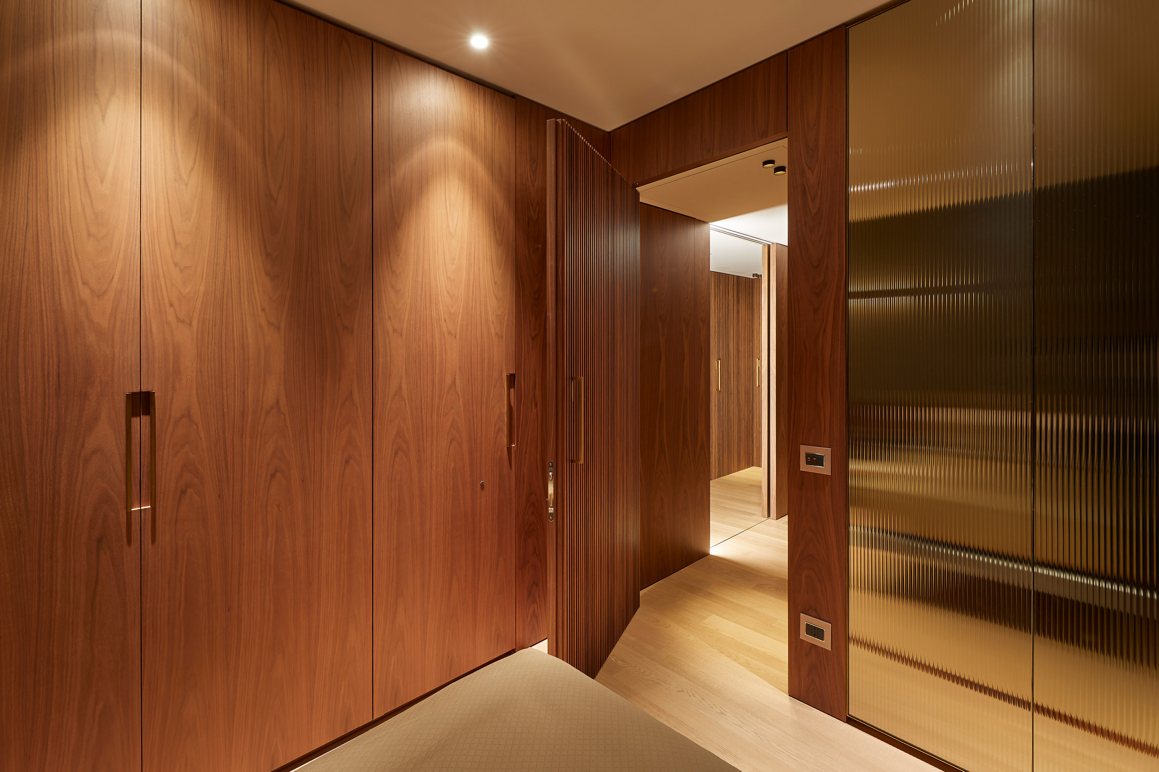 Interior of Milan apartment with wood panelling