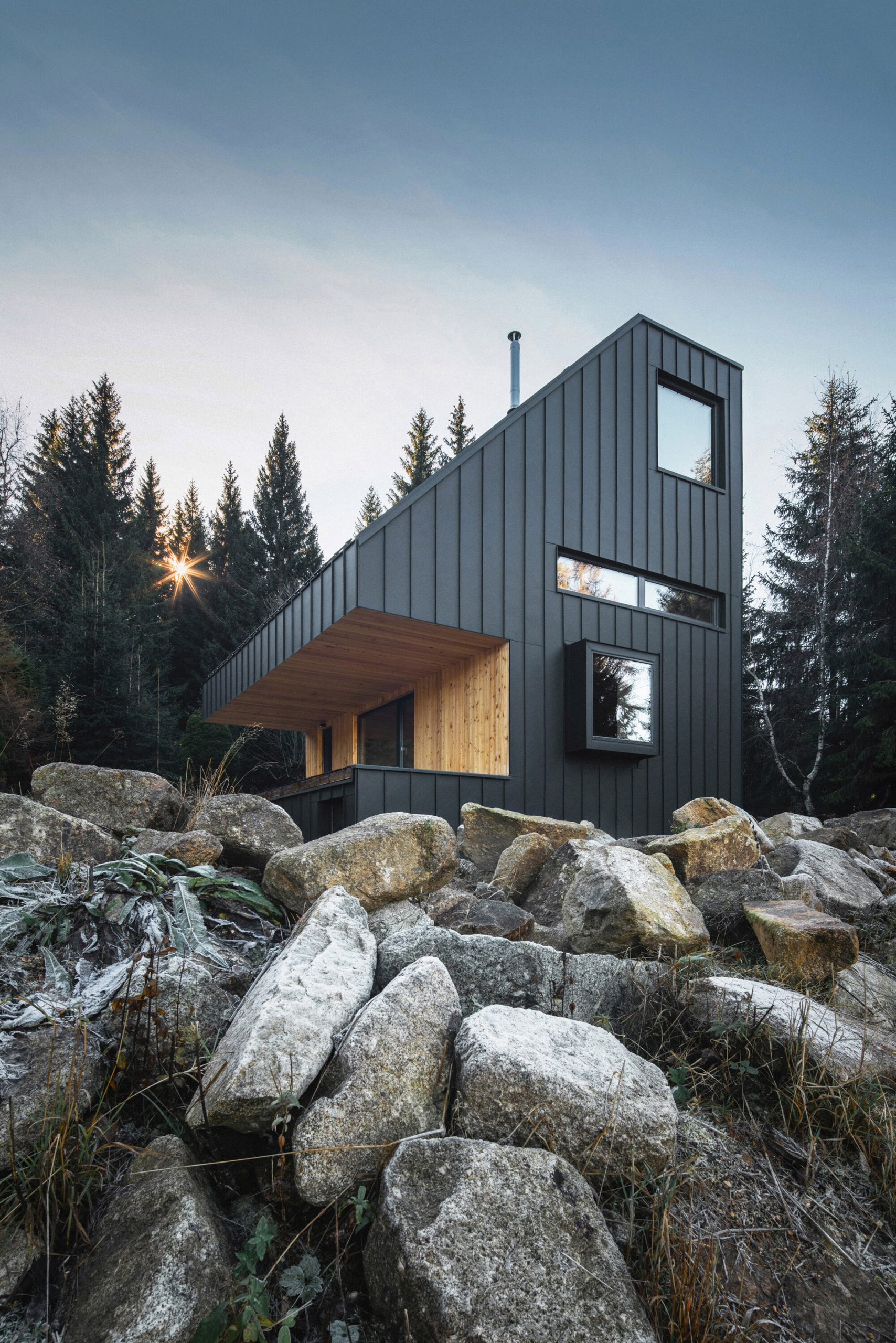 Weekend House by New How is made from CLT timber panels