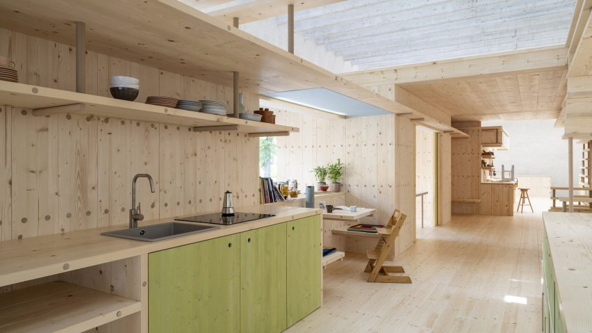 A wooden co-living kitchen