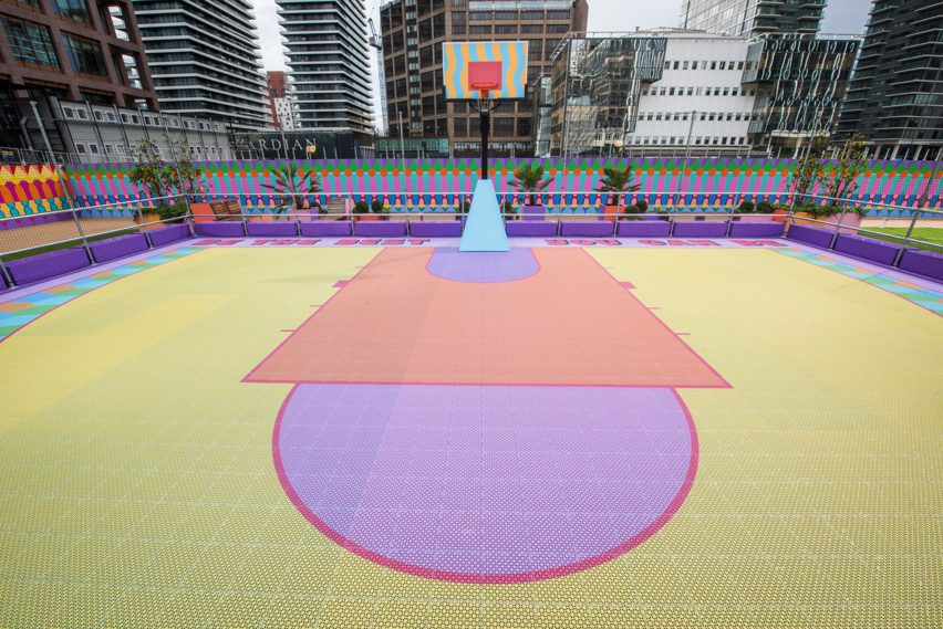 Aerial view of Canary Wharf basketball court