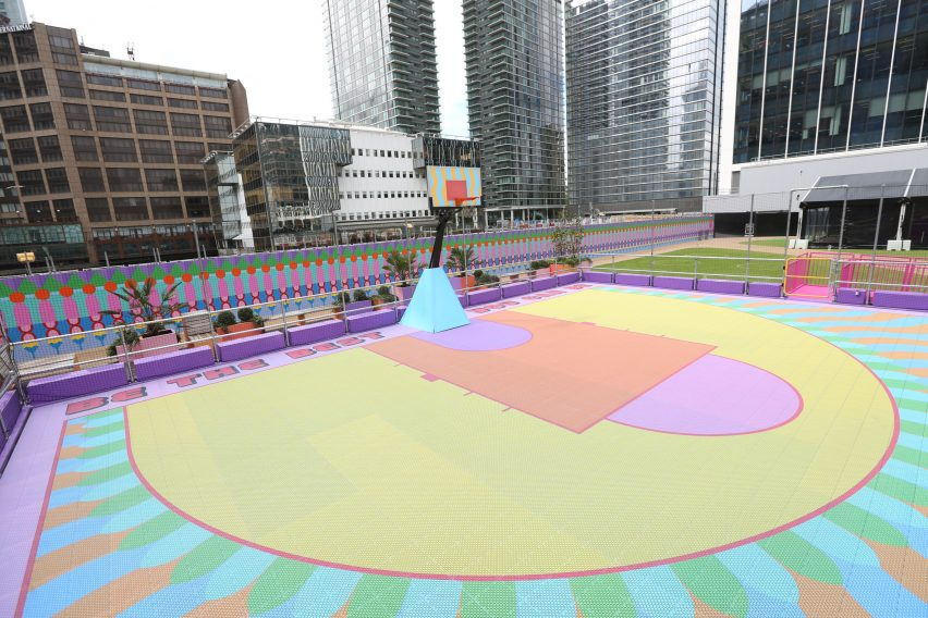 Aerial view of colourful Canary Wharf basketball court