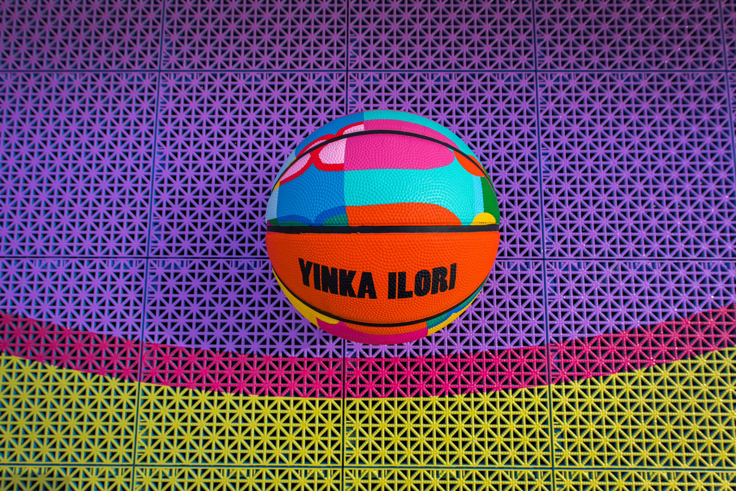 Close-up of Yinka Ilori basketball on 3D printed sports tiles