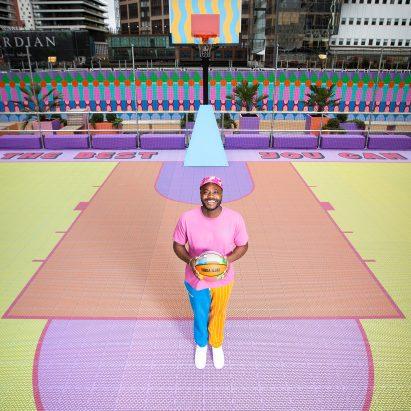 Canary Wharf basketball court by Yinka Ilori