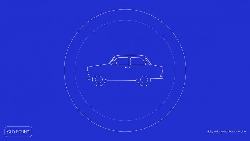 Grafik pentagram menunjukkan mobil dengan latar belakang biru