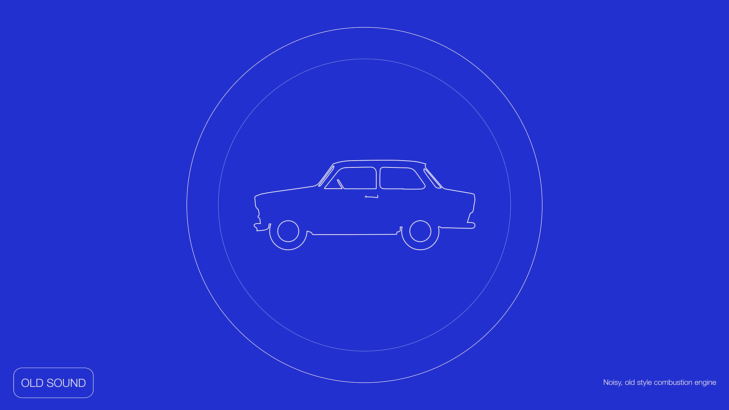 Pentagram graphic showing car on blue backdrop