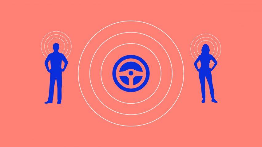 Grafis yang menggambarkan desain suara Yuri Suzuki untuk mobil listrik