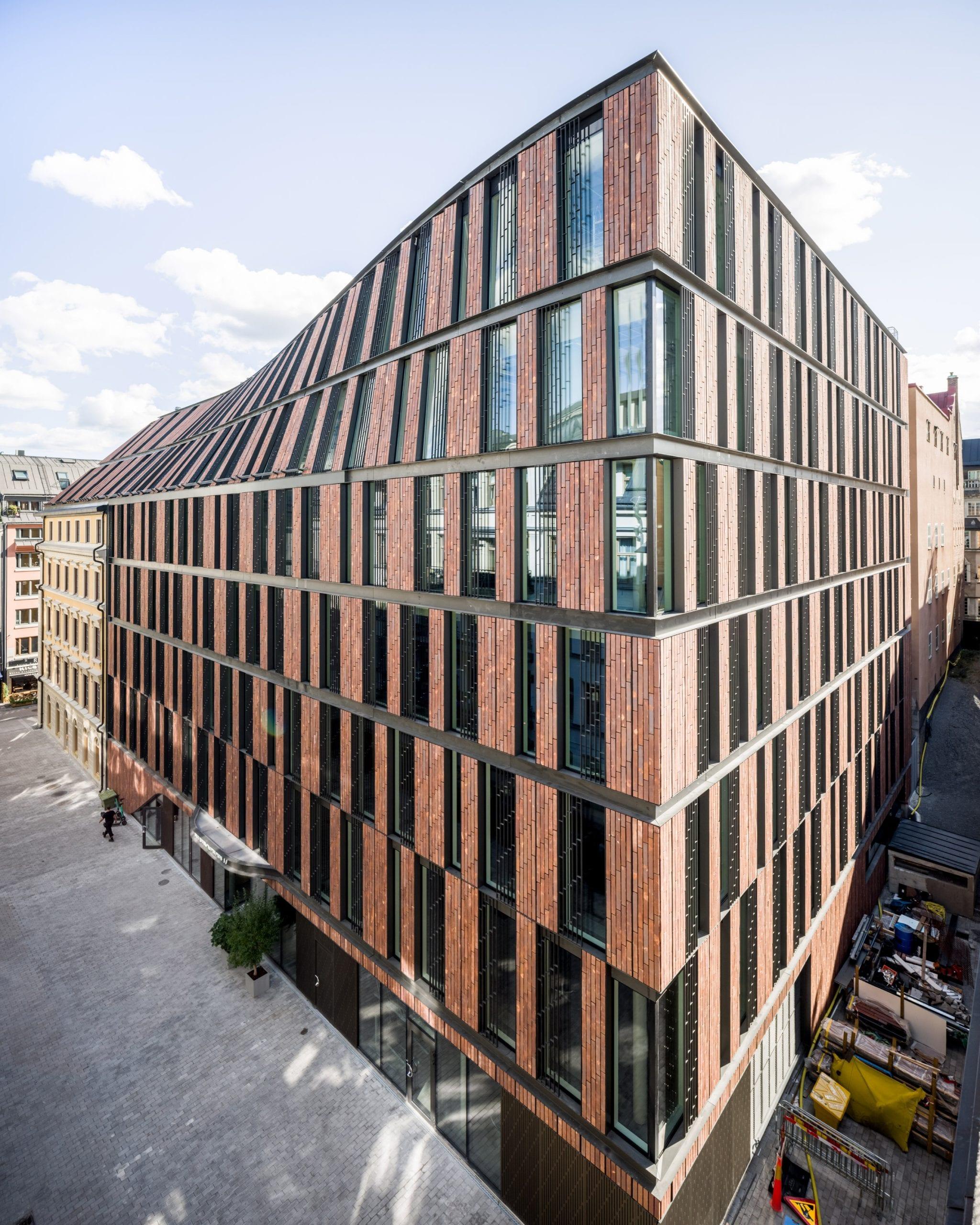 The Nybrogatan 17 office block is located on a corner plot